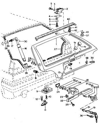 hayon et accessoires Golf 2 1983-92