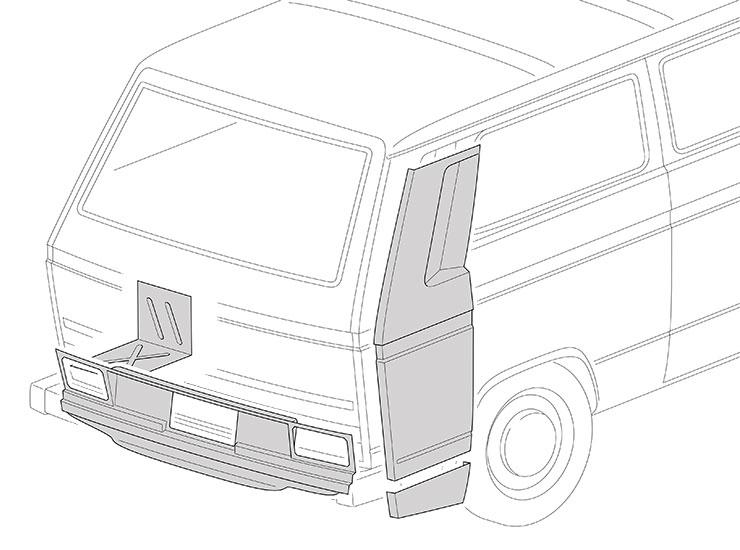 Panneaux arrieres et compartiment moteur
