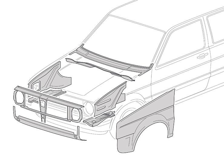 Face avant - VW Golf 2 1983-1992
