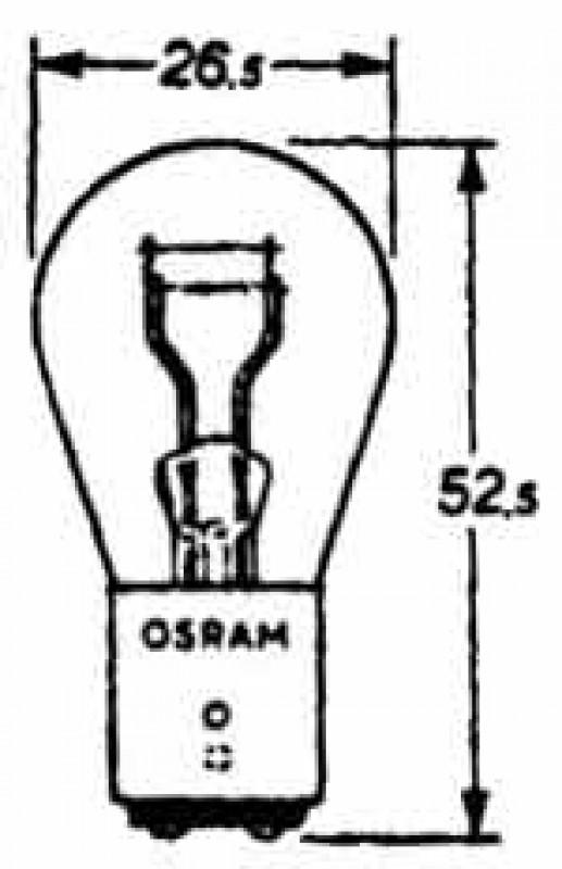 Ampoule de feu arrière et feu stop 6V. double filament
