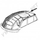 151052VBK Ciel de toit vinyl noir perforé cabriolet 8/71-->7/72