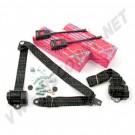 111898149AK Kit 2 ceintures de sécurité avant à enrouleur, de couleur noire. Ces ceintures sont homologuées, normes CE