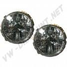 Phares H4 Miroirs Fumés avec croix pour Golf 1, Cox & Combi 74-> la paire DM31171