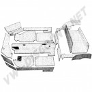 kit moquette cabriolet 20 pièces grise Ghia 69-74