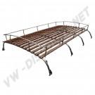 Galerie de toit 4 barres en inox poli et bois Type 2