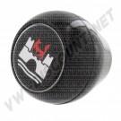 Pommeau noir avec logo Wolfsburg rouge et blanc filetage 12mm 67-->| Dream-Machine.fr