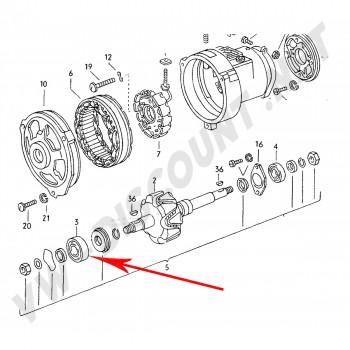 Roulement d alternateur avant diamètre 40mm  ALTERNATEUR  45A + 65A  021 903 221E 021903221E   | Dream-Machine.fr